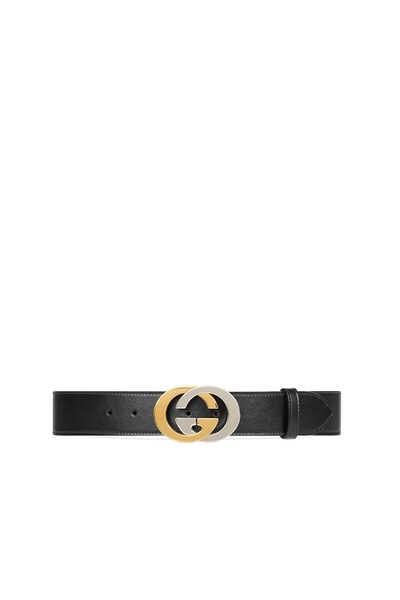 Leather Interlocking G Buckle Belt