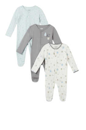 Bear and Tree Sleepsuit, Set of Three