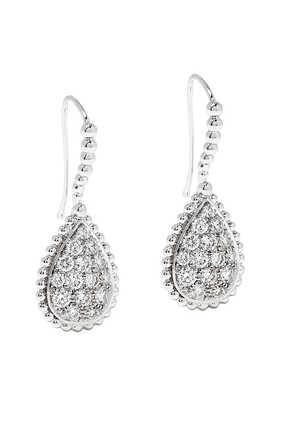 Serpent Bohème M Motif Diamond Sleepers Earrings in 18kt White Gold