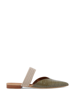 Maisie Croc-Embossed Leather Mules