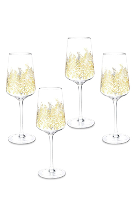 Chelsea Gold Leaf Wine Glass, Set of 4