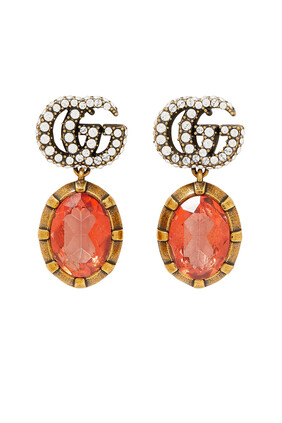 Double G Earrings With Rose Crystals