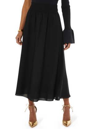 Ribbed Waist Volume Skirt