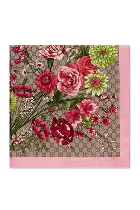 Silk GG Bouquets Print Scarf