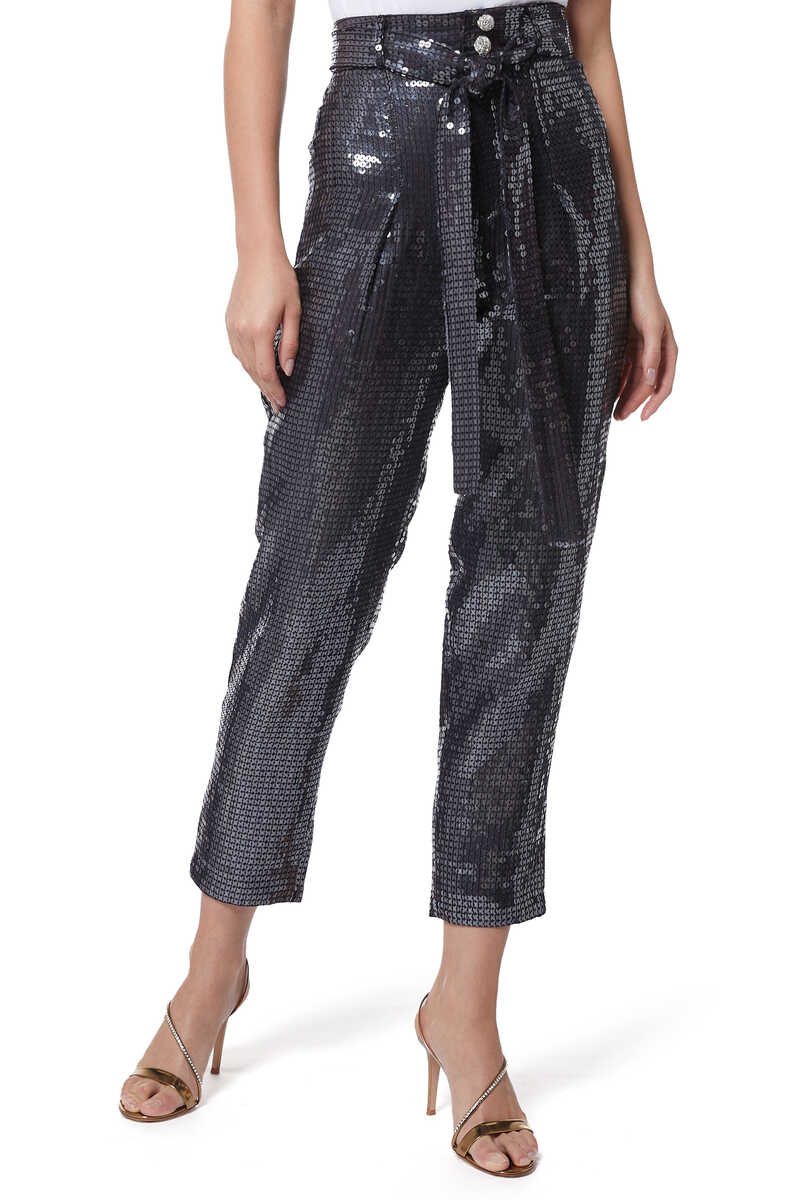 High-Waisted Sequined Tapered Pants image number 1