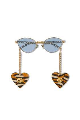 Cat Eye Sunglasses With Heart Shaped Charms