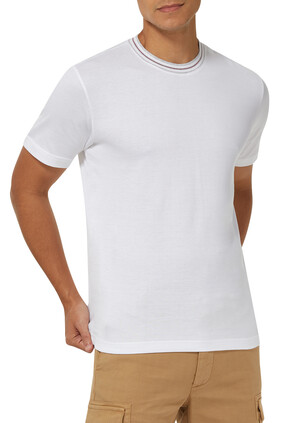 Giza Cotton Sporty Crew T-Shirt with Contrast Neck
