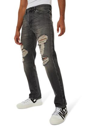 V-Logo Distressed Jeans