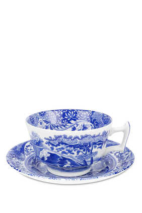 Spode Blue Italian Teacups and Saucers, Set of 4