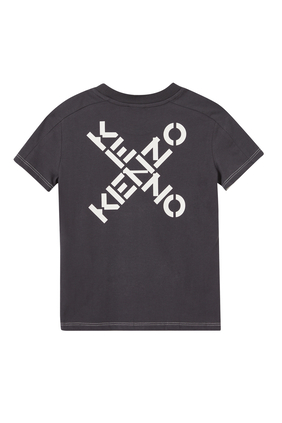 JB SS T-SHIRT WITH KENZO IN X ON SIDE:WHITE:2Y