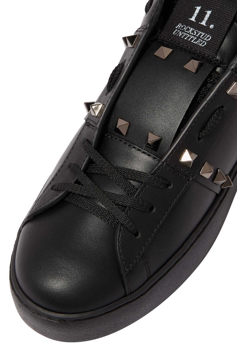 Valentino Garavani Black Rockstud Untitled Sneakers image number 3