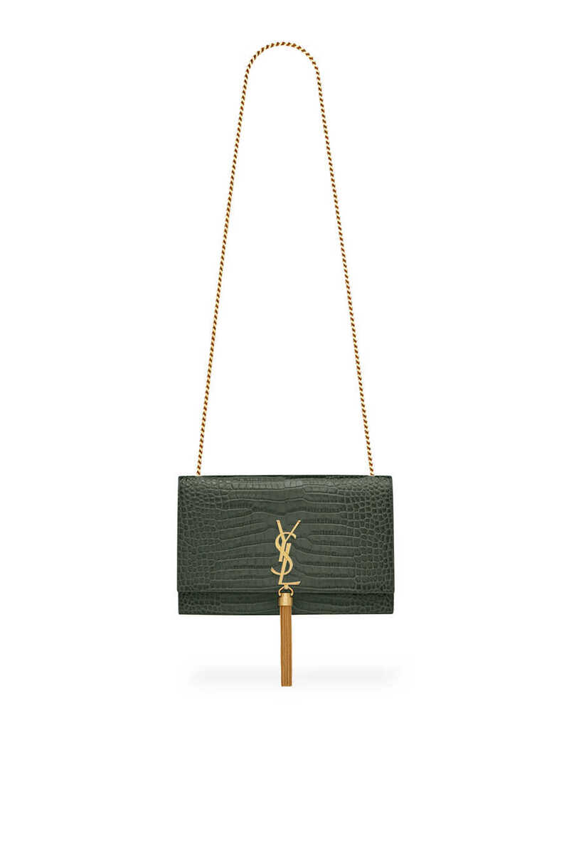 Kate Medium Tassel Chain Bag in Crocodile-Embossed Shiny Leather image thumbnail number 1