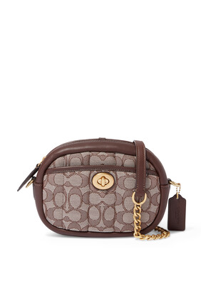 Small Quilted Camera Bag in Signature Jacquard