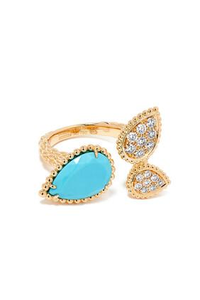 Serpent Bohème Triple Motif Diamond Ring with Turquoise