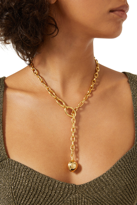 Large Sphere Chain Lariat Necklace