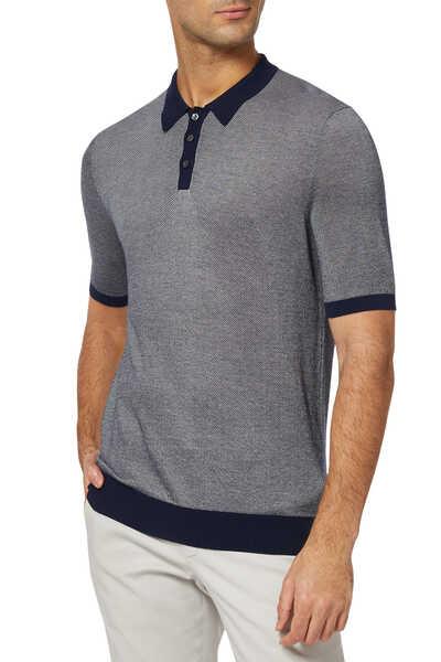 Bi-Colour Piqué Cotton Polo T-Shirt