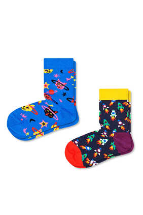 Kids Space Cat Socks, Set of Two