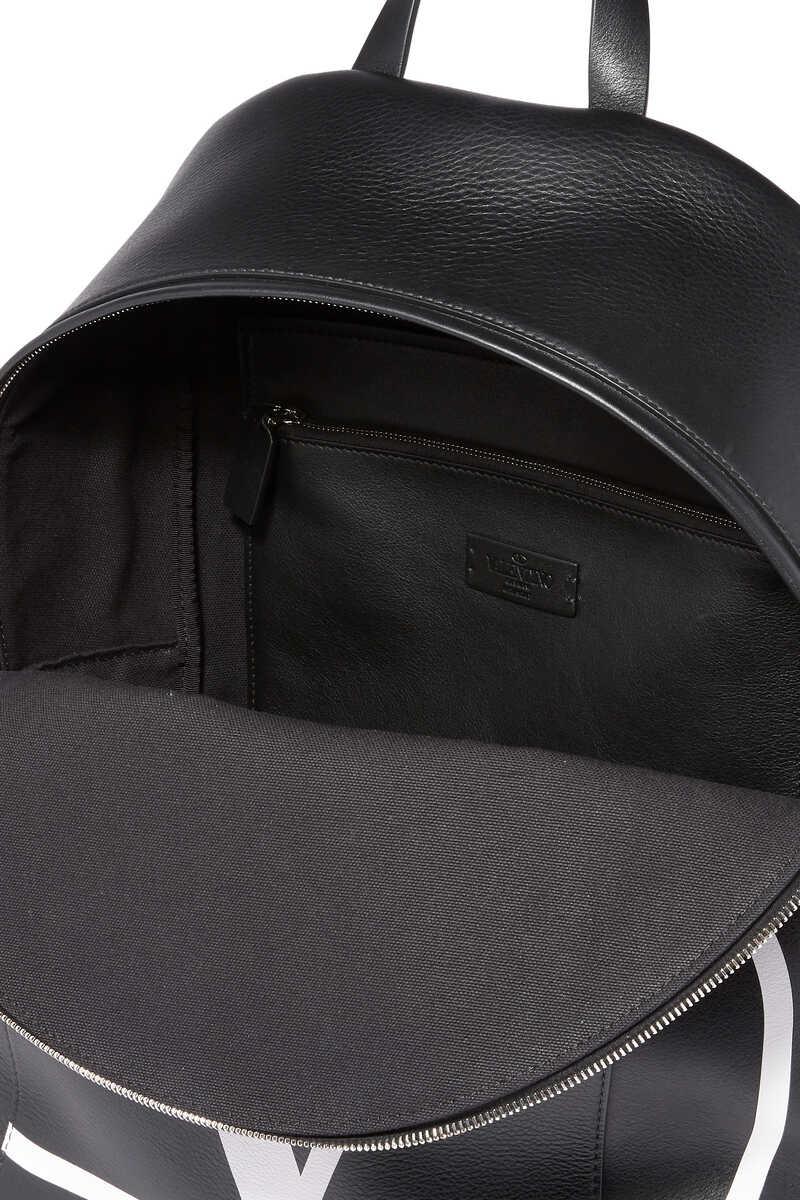 Valentino Garavani Vintage V Logo Leather Backpack image number 4