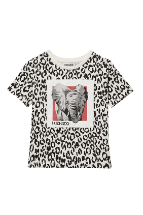 SS T-SHIRT W LEOPARD PRINT AND ELEPHANT PRINT:Off White:2Y