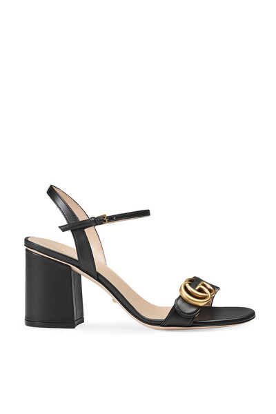 Logo Leather Mid-Heel Sandals
