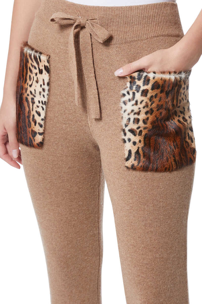 Leopard Patch Knit Pants image number 4