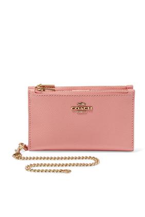 Zip Chain Card Case in Crossgrain Leather