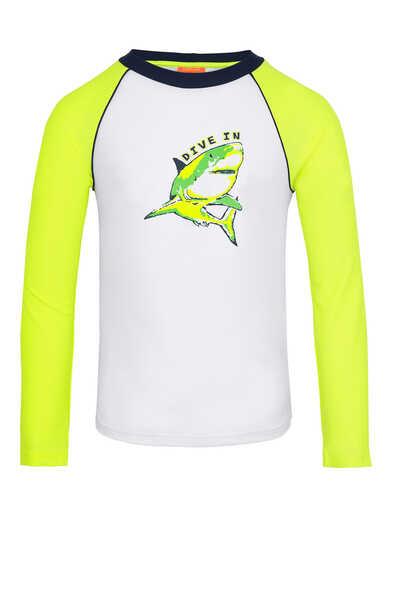 Neon Shark Print Rash Vest