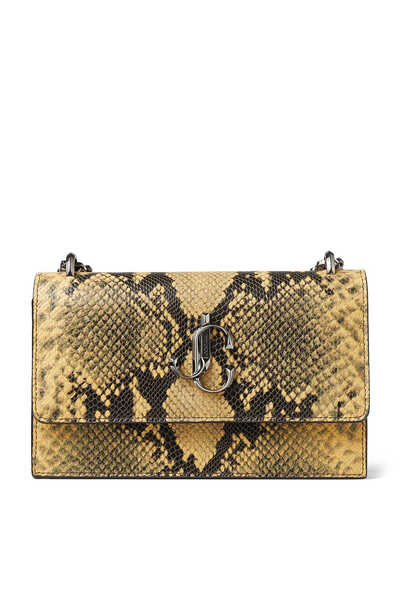Snake Printed Leather Clutch Bag