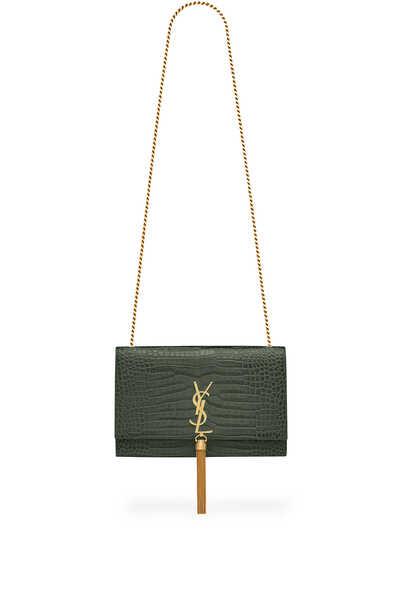 Kate Medium Tassel Chain Bag in Crocodile-Embossed Shiny Leather