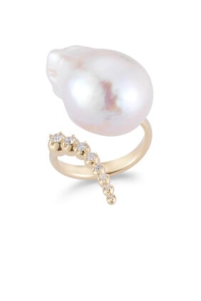 Diamond and Baroque Pearl Ring