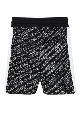 Diagonal Chain Print Bermuda Shorts