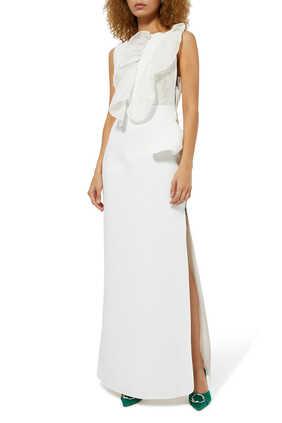 Organza Ruffle Evening Gown
