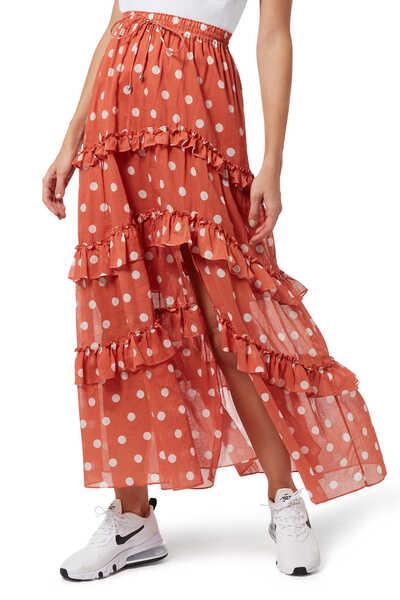 Poppy Polka Dot Maxi Skirt