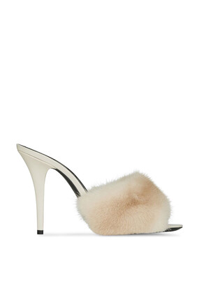 LA 16 Leather and Mink Mules