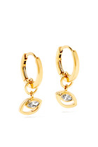 Rock Blossom Marquise Diamond Huggie CharmEarrings in 18kt Yellow Gold