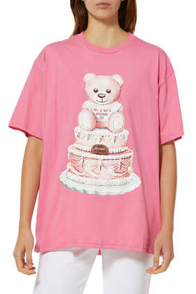 Cake Teddy Bear Oversized Cotton T-Shirt
