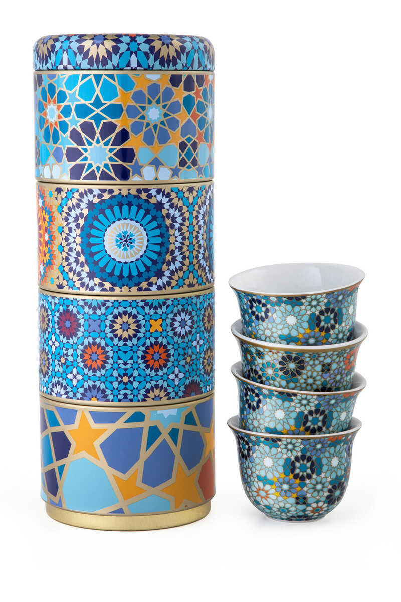 Moucharabieh Tin Box With Cups, Set of Four image number 1