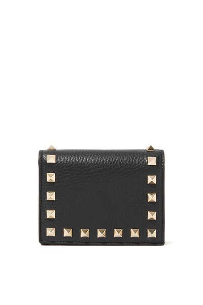 Valentino Garavani Rockstud Grainy Leather Wallet
