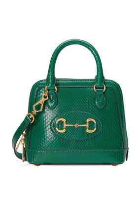 Horsebit 1955 Python Mini Top Handle Bag