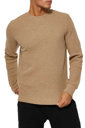 Waffle-Knit Cotton Pullover