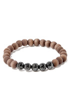 Wooden And Lava Bead Bracelet