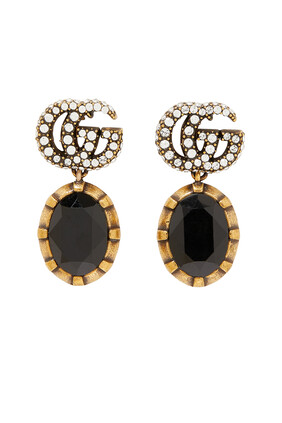 Double G Earrings With Black Crystals