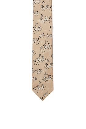 Bird Print Silk Tie