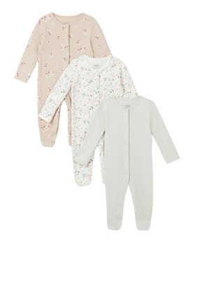 Ditsy Floral Sleepsuit, Set of Three