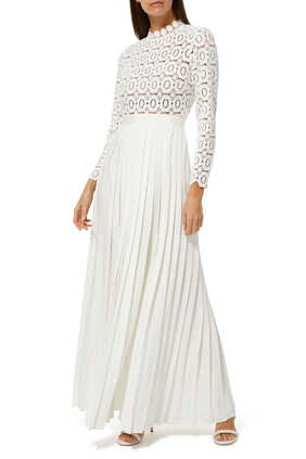 Pleated Crochet Floral Maxi Dress