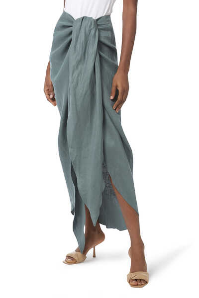 Tie Front Draped Skirt