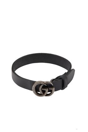 Engraved Double G Leather Bracelet