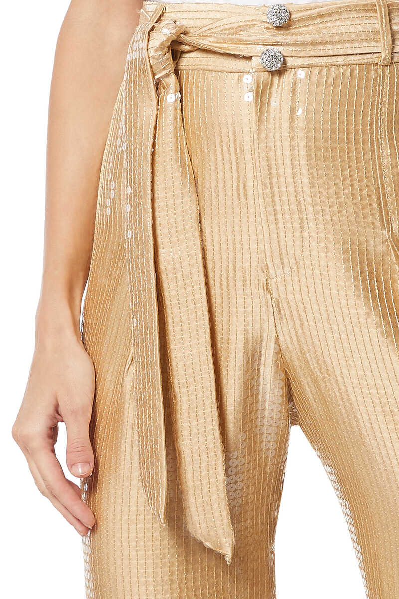 High Waisted Sequinned Tapered Pants image number 4
