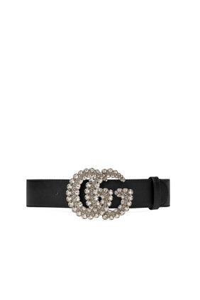 Crystal Double G Leather Belt