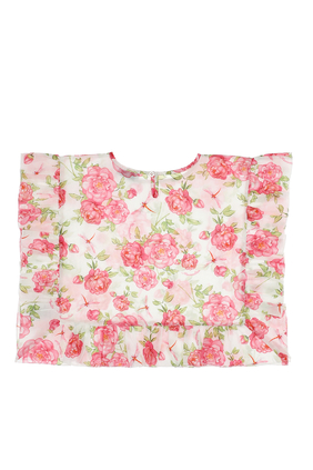 Beach Wear Floral Poncho